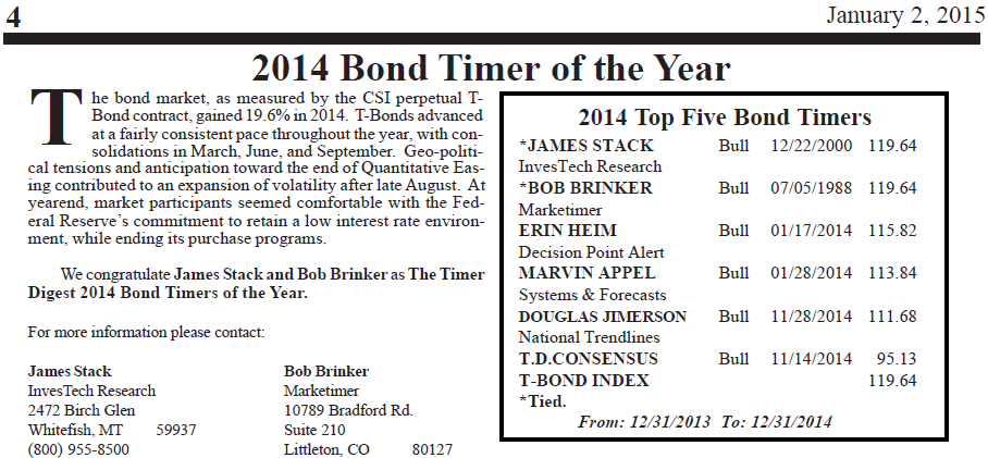2014 Bond Timer of the Year