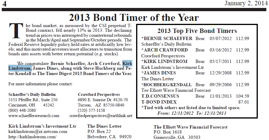 2013 Bond Timer of the Year