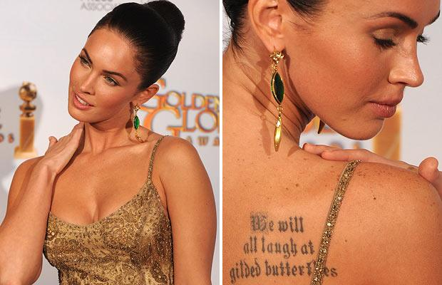 ... We will all laugh at gilded butterflies' tattoo on her shoulder