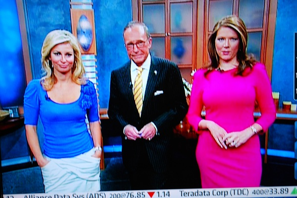 Trish Regan with Amanda Drury and Larry Kudlow